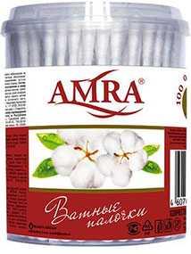 Ватные палочки Amra в круглой коробке 200 шт - Бумфа Групп