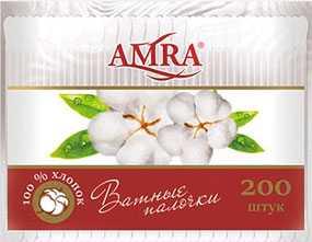 Ватные палочки Amra в пакете, 200 шт - Бумфа Групп