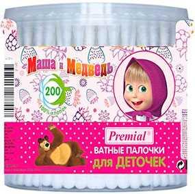 Ватные палочки для детской гигиены (цилиндр) Premial Маша и Медведь, 200 шт - Бумфа Групп