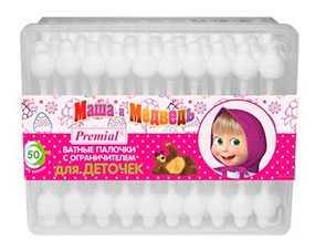 Ватные палочки детские Premial Маша и Медведь, с ограничителем, 40 шт - Бумфа Групп