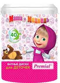 Ватные диски для детской гигиены (овал) Premial Маша и Медведь,70х90мм, 40 шт - Бумфа Групп