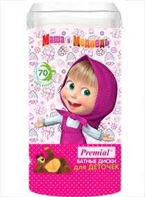 Ватные диски для детской гигиены Premial Маша и Медведь (круг) 70 шт - Бумфа Групп