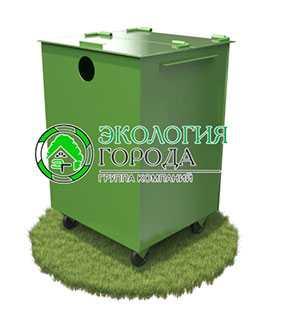 Контейнер для сбора пластмассы с крышкой передвижной 0.75 м³ - ЗМК Экология города