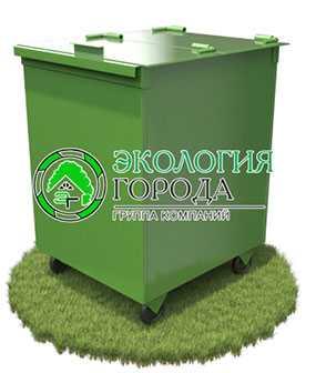 Контейнер для сбора ТБО с крышкой передвижной 0.75 м³ с задней загрузкой - ЗМК Экология города