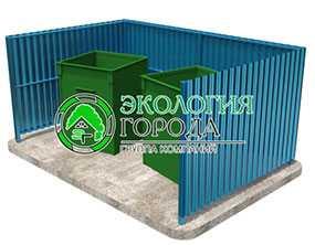 Контейнерная площадка открытая под контейнеры 0.75 м³ (на 2 контейнера) - ЗМК Экология города
