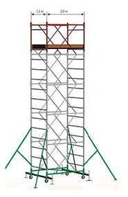 Вышка-тура Вектор (площадка 2,0х1,2 м) 14 секций, h = 18.4м
