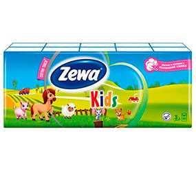 Платочки бумажные, носовые Zewa Kids 10 шт классические трехслойные 10 шт - ЭсСиЭй Хайджин Продактс Раша