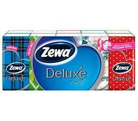 Платочки бумажные, носовые Zewa Deluxt c добавлением натуральных волокон хлопка, трехслойные 10 шт - ЭсСиЭй Хайджин Продактс Раша