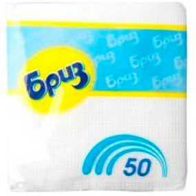 Салфетки Бриз белые 50 шт, 24х24 см, целлюлоза - АМИГУС