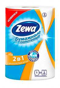 Полотенца бумажные кухонные Zewa 2 в 1, двухслойные, 22,7 х 25 см, из вторичного волокна - ЭсСиЭй Хайджин Продактс Раша