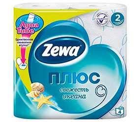 Бумага туалетная Zewa Плюс Свежесть океана, голубая, 4 рулона, двухслойная, из вторичного волокна - ЭсСиЭй Хайджин Продактс Раша
