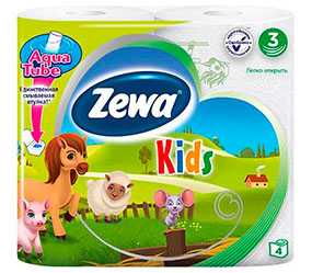 Бумага туалетная Zewa Deluxе Kids, 4 рулона, трехслойная, целлюлоза - ЭсСиЭй Хайджин Продактс Раша