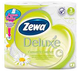 Бумага туалетная Zewa Deluxе с ароматом ромашки, 4 рулона, трехслойная, целлюлоза - ЭсСиЭй Хайджин Продактс Раша