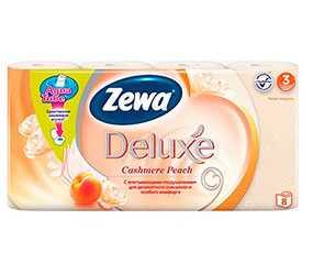 Бумага туалетная Zewa Deluxе с ароматом персика, 8 рулонов, трехслойная, целлюлоза - ЭсСиЭй Хайджин Продактс Раша
