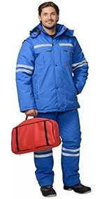 Костюм мужской зимний Скорая помощь (куртка, полукомбинезон), арт. 05564, цвет - васильковый