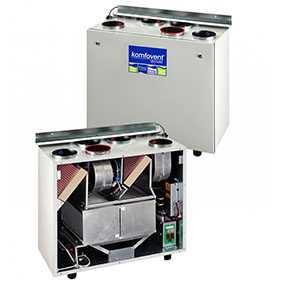 Вентиляционная установка пластинчатая с двойным теплообменником KOMFOVENT DOMEKT RECU 300 - AMALVA (Литва)