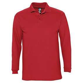 Рубашка поло мужская с длинным рукавом WINTER 210 красная, артикул gf1899