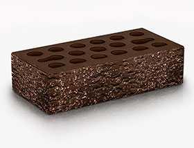 Кирпич облицовочный Brown granite 1 НФ (накатка Кора+ посыпка Орех) - Керма