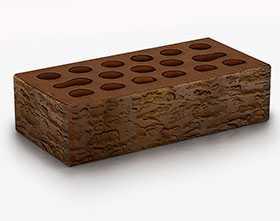 Кирпич облицовочный Fusion forest 1 НФ (Красно-коричневый мультитон, накатка Кора, без посыпки) - Керма