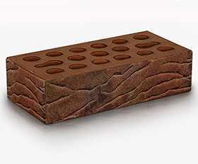 Кирпич облицовочный Fusion wood 1 НФ (Красно-коричневый мультитон, накатка Кора + посыпка амфиболит) - Керма