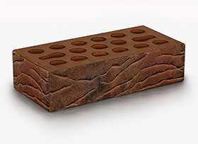 Кирпич облицовочный Fusion furrow 1 НФ (Красно-коричневый мультитон Рустик + посыпка мелкий песок) - Керма