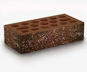 Кирпич облицовочный Fusion granite 1 НФ (Красно-коричневый мультитон, накатка Кора + посыпка Орех) - Керма