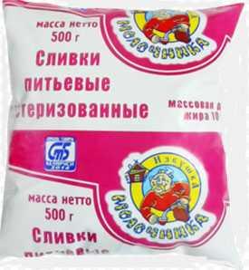 Сливки питьевые 10% фасованные в пленку по 0,5 л - ТМ Избушка молочника