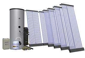 Комплект солнечный (вакуумные коллектор) для нагрева воды (водонагреватель) Hewalex 6 KSR10-500 - Hewalex