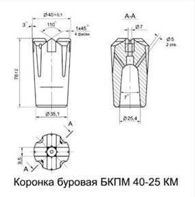 Коронка буровая БКПМ 40-25 КМ