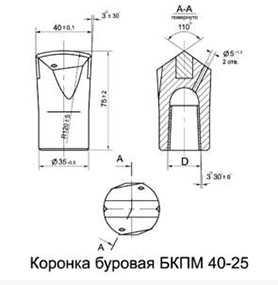 Коронка буровая БКПМ 40-25
