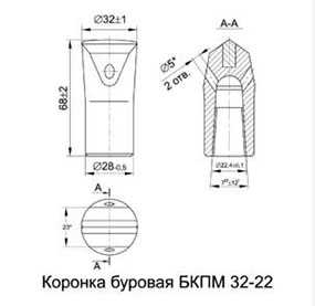 Коронка буровая БКПМ 32-22
