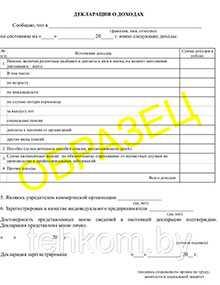 Бланки Декларация о доходах, формат А4 - Техком ЧУТП