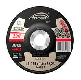 Круг отрезной PRO 42 Metal + Inox, 125х1,0х22 мм - MOST