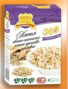 Хлопья овсяно-пшенично-ржано-гречневые- перловое (5 злаков) не требующие варки, фасовка коробка 500 гр - СМОРГОНСКИЙ КОМБИНАТ ХЛЕБОПРОДУКТОВ