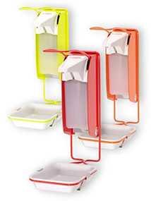 Дозатор локтевой сигнального цвета для жидкого мыла, крема и дезинфицирующего средства IMP TLS P/24, 1000 мл - OPHARDT Hygiene