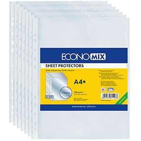 Файл ECONOMIX Office перфорированный, формат А4, 40 микрон, упаковка 100 шт