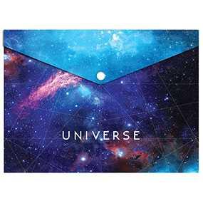 Папка-конверт пластиковая OPTIMA Universe на кнопке, формат А4