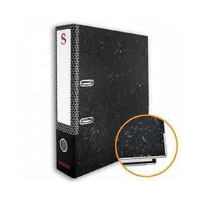 Папка-регистратор SPONSOR с металлическим уголком, цвет черный мрамор, формат А4