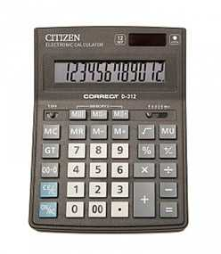 Калькулятор CITIZEN Correct D-312 черный 12-разрядый