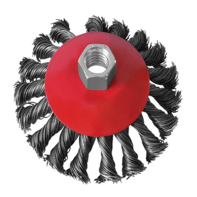 Щетка по металлу конусная плетенная проволока 100 мм х М14