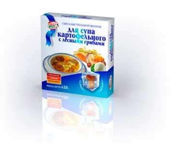 Смесь для супа картофельного с лесными грибами быстрозамороженная, Масса 450г