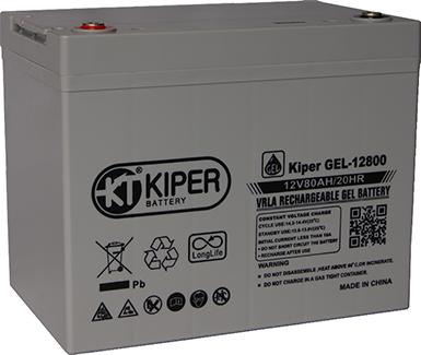 Аккумуляторная батарея Kiper GEL-12800 12V/80Ah 260x169x210(235) ДхШхВ - Kiper (Китай)