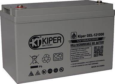 Аккумуляторная батарея Kiper GEL-121000 12V/100Ah 328x172x222(222) ДхШхВ - Kiper (Китай)