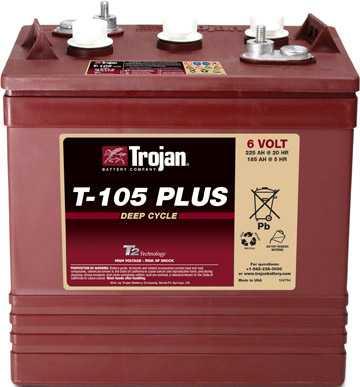 Аккумуляторная батарея тяговая Trojan T-105+ 6V/225Ah
