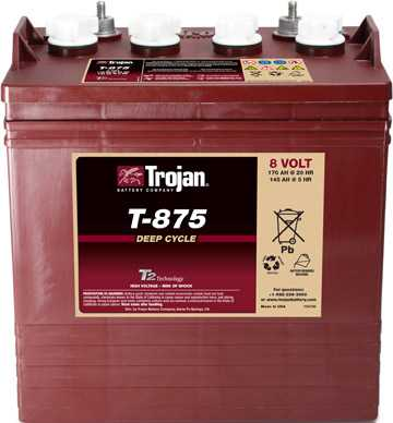 Аккумуляторная батарея тяговая Trojan T-875 8V/170Ah