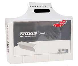 Полотенца листовые бумажные V-сложения Katrin RCP ZZ 1 слойные, белые (200*20)