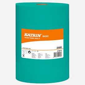 Полотенца рулонные бумажные с центральной вытяжкой Katrin Basic 1 слойные, зеленые (1*12)