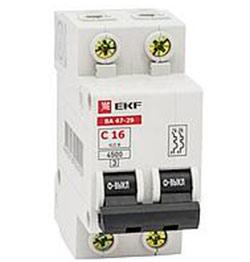 Автоматический выключатель ВА 47-29 Basic 2P 6А(C) 4,5кА EKF
