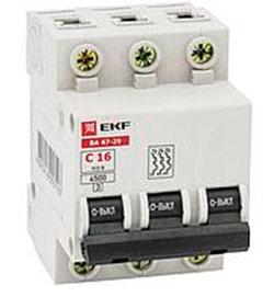Автоматический выключатель ВА 47-29 Basic 3P 6А(C) 4,5кА EKF