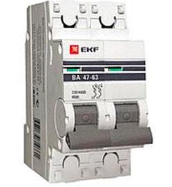 Автоматический выключатель 2P 13А (C) 4,5kA ВА 47-63 EKF PROxima